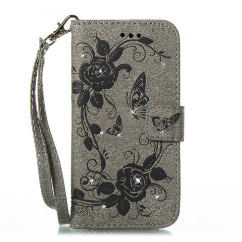 Butterfly and Flower Leather Case Cover with Water Drill for Samsung Galaxy J730 - GRAY