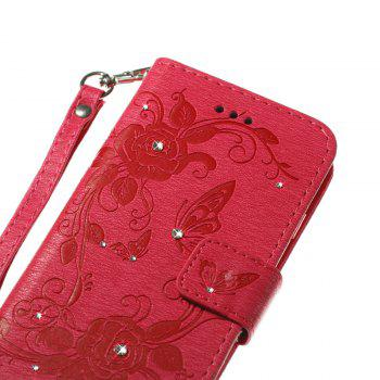 Butterfly and Flower Leather Case Cover with Water Drill for Samsung Galaxy J730 - ROSE RED