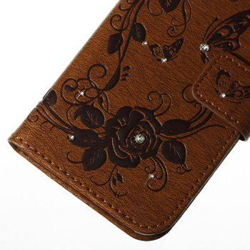 Butterfly and Flower Leather Case Cover with Water Drill for Samsung Galaxy J730 - BROWN
