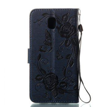 Butterfly and Flower Leather Case Cover with Water Drill for Samsung Galaxy J730 - DEEP BLUE