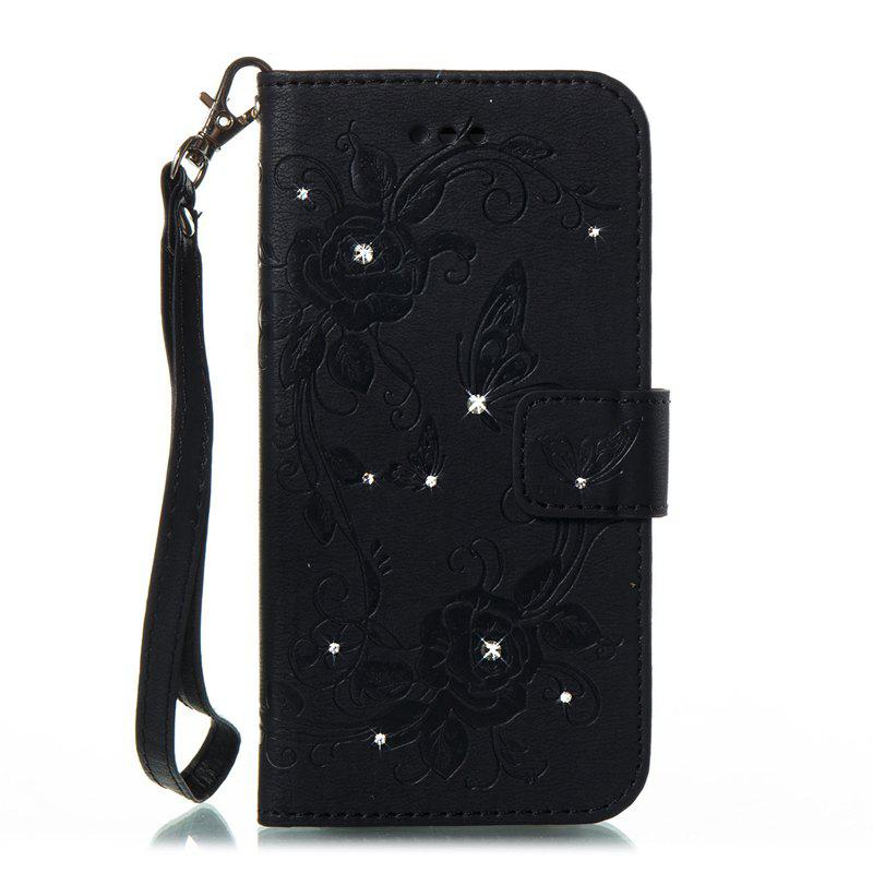 Butterfly and Flower Leather Case Cover with Water Drill for Samsung Galaxy J730 - BLACK