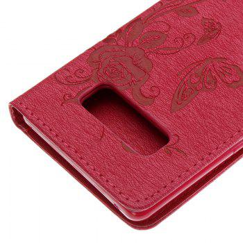 Butterfly and Flower Leather Case Cover with Water Drill for Samsung Galaxy Note 8 - ROSE RED