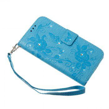 Butterfly and Flower Leather Case Cover with Water Drill for Samsung Galaxy S8 Plus - BLUE