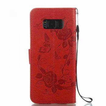 Butterfly and Flower Leather Case Cover with Water Drill for Samsung Galaxy S8 Plus - BRIGHT RED