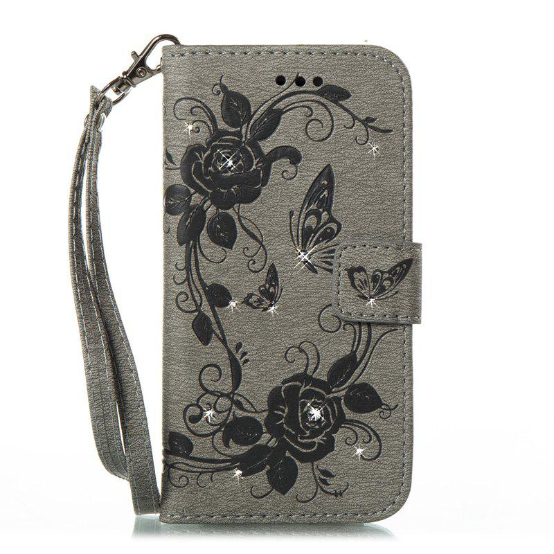 Butterfly and Flower Leather Case Cover with Water Drill for Samsung Galaxy S8 Plus - GRAY