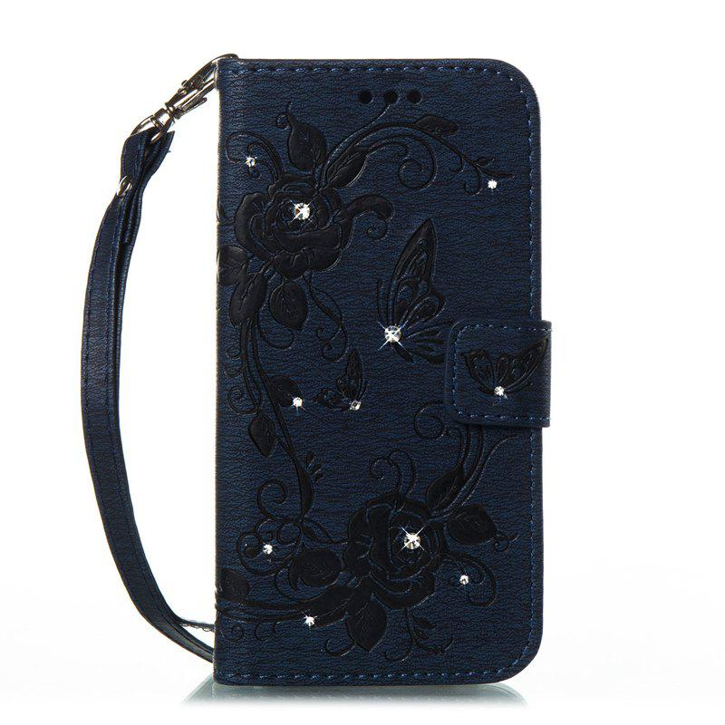 Butterfly and Flower Leather Case Cover with Water Drill for Samsung Galaxy S8 Plus - DEEP BLUE
