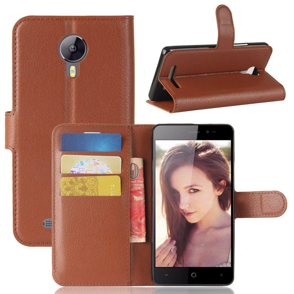 Solid Color Litchi Pattern Wallet Style Front Buckle Flip Pu Leather Case for Leagoo Z5 - BROWN