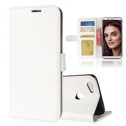 Durable Crazy Horse Pattern Back Buckle Flip PU Leather Wallet Case for OPPO F5 - WHITE