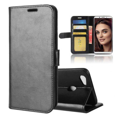 Durable Crazy Horse Pattern Back Buckle Flip PU Leather Wallet Case for OPPO F5 - BLACK
