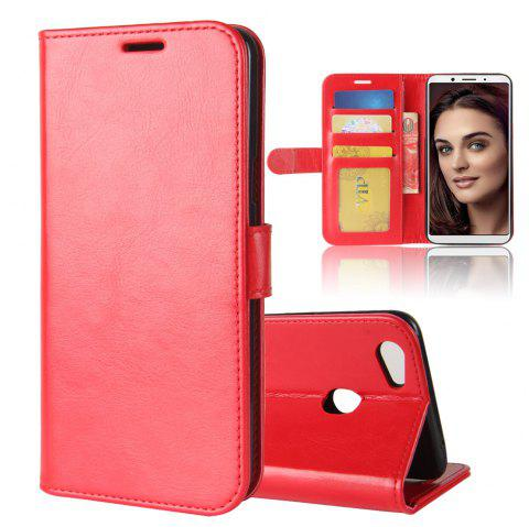 Durable Crazy Horse Pattern Back Buckle Flip PU Leather Wallet Case for OPPO F5 - RED