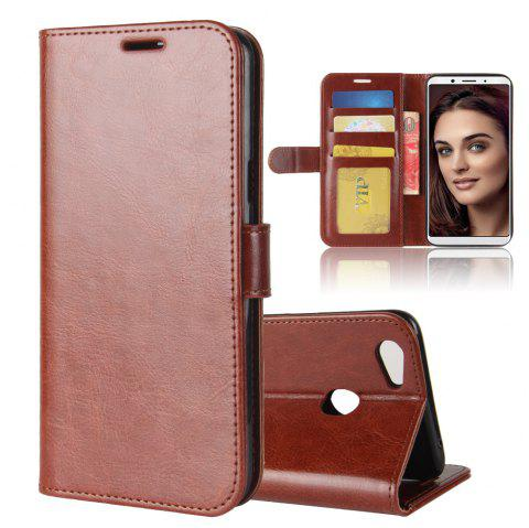 Durable Crazy Horse Pattern Back Buckle Flip PU Leather Wallet Case for OPPO F5 - BROWN