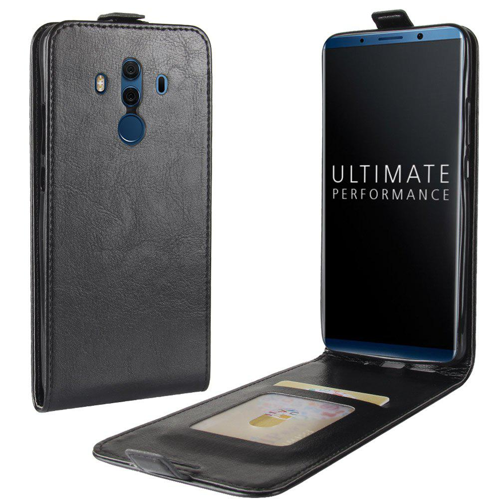 Durable Crazy Horse Pattern Up and Down Style Flip Buckle PU Leather Case for Huawei Mate 10 Pro - BLACK