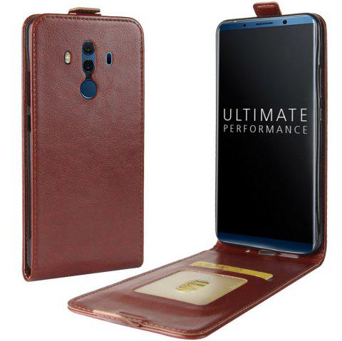 Durable Crazy Horse Pattern Up and Down Style Flip Buckle PU Leather Case for Huawei Mate 10 (Porsche Edition) - BROWN