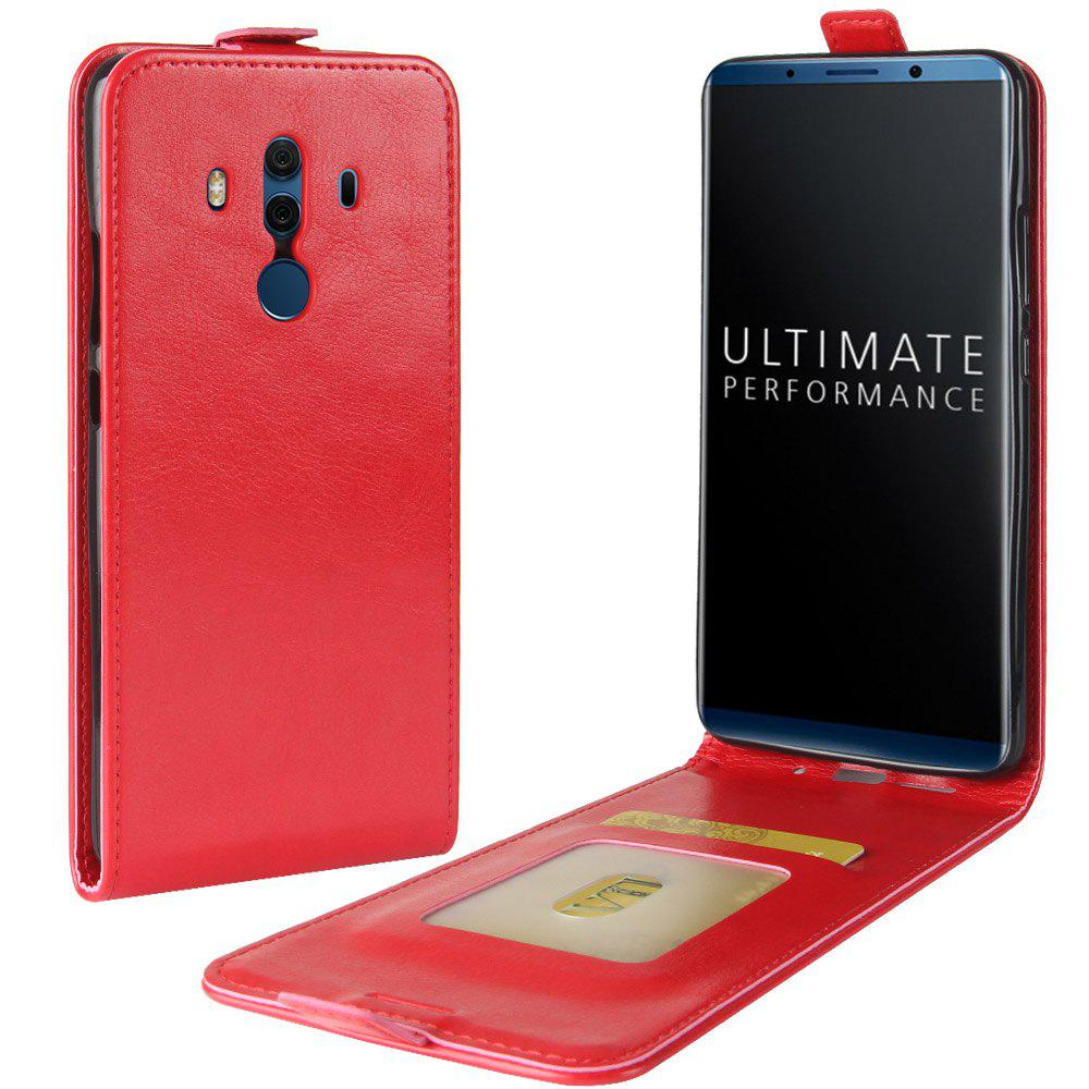 Durable Crazy Horse Pattern Up and Down Style Flip Buckle PU Leather Case for Huawei Mate 10 (Porsche Edition) - RED