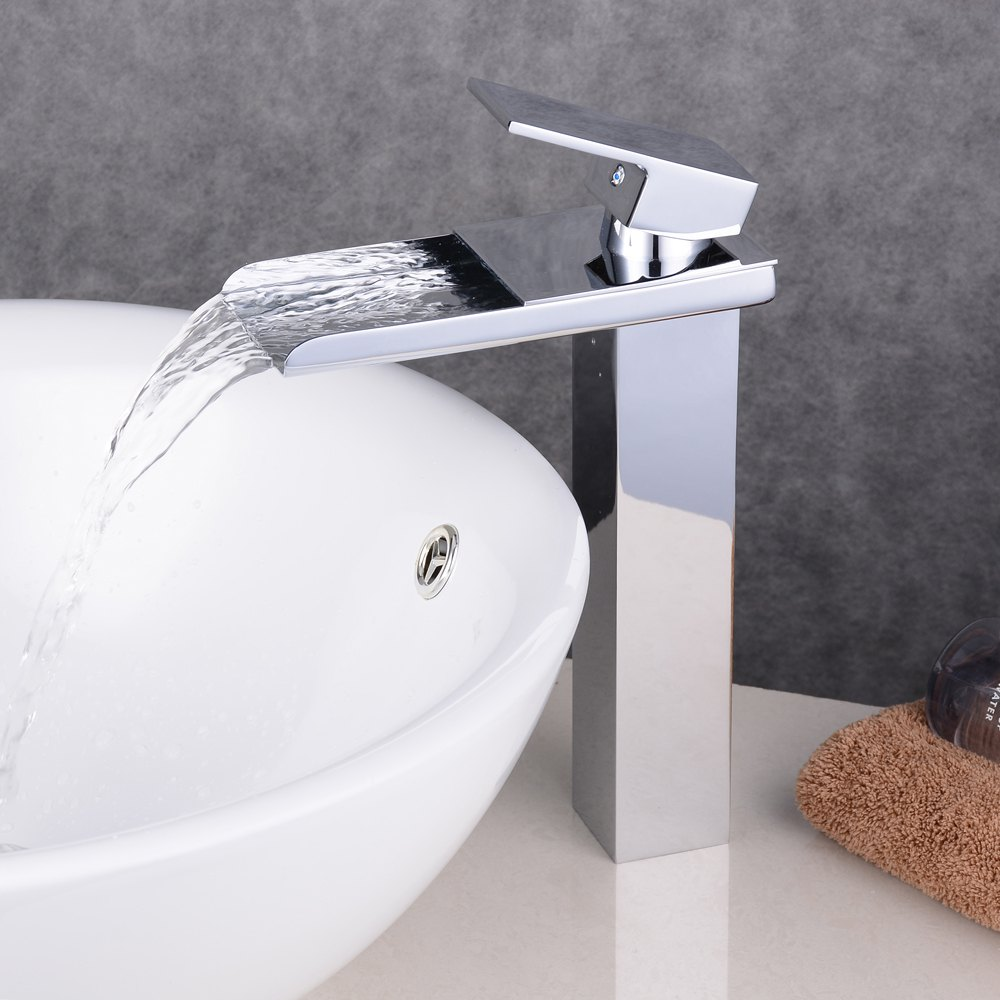 Chrome Contemporary Waterfall Bathroom Sink Lavatory Vessel Mixer Faucet - CHROME 1PC