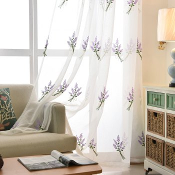 Korean Pastoral Style Living Room Bedroom Children's Room Lavender Embroidery Curtain  Grommet - PURPLE 2X(90WX90L)