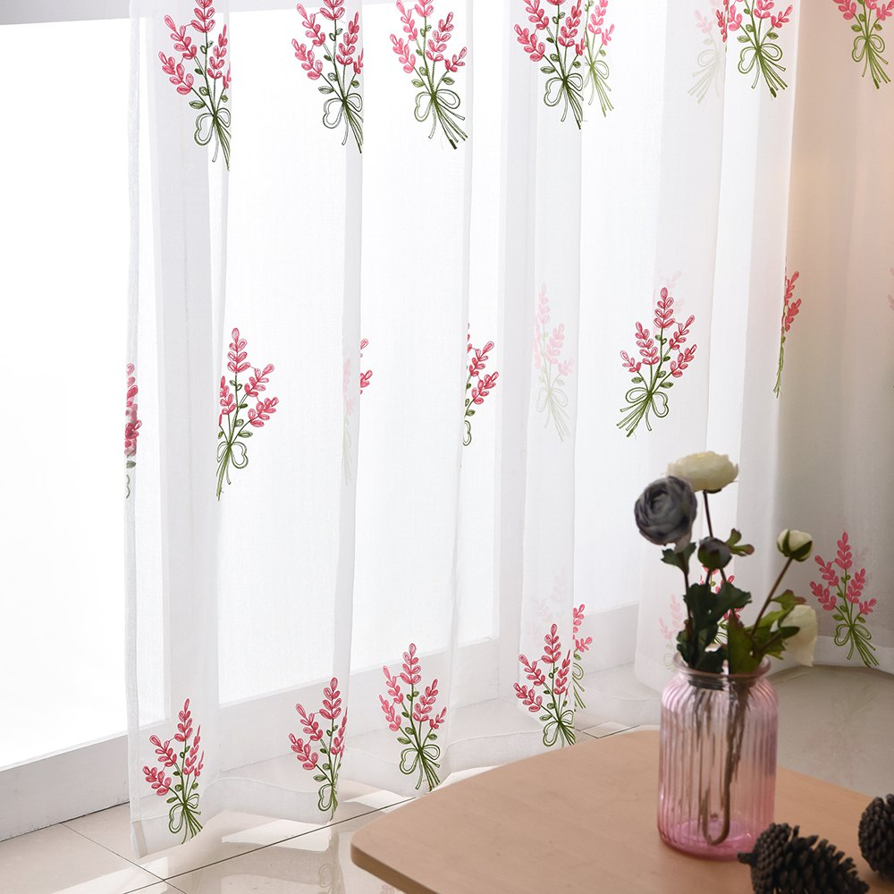 Korean Pastoral Style Living Room Bedroom Children's Room Lavender Embroidery Curtain  Grommet - PINK 2X(90WX90L)
