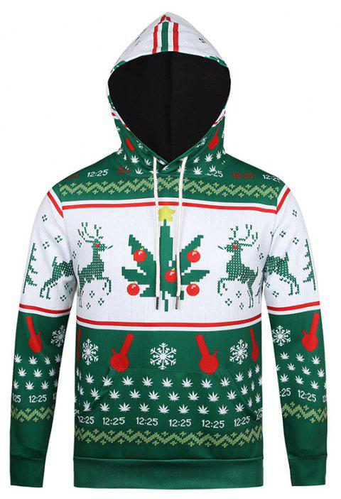 Men's Hoodie Personality Print Long Sleeve Hooded Pullover - GREEN L