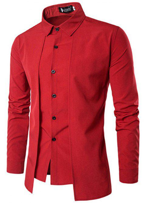 Fake Two Pieces Simple Style Casual Fashion Designer Shirts for Men - RED L