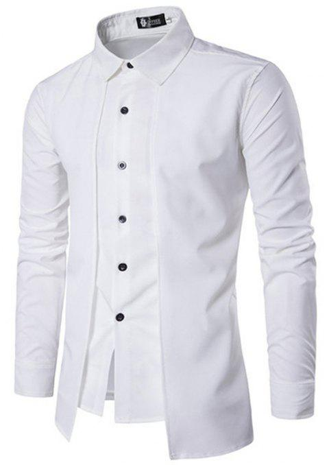 Fake Two Pieces Simple Style Casual Fashion Designer Shirts for Men - WHITE L