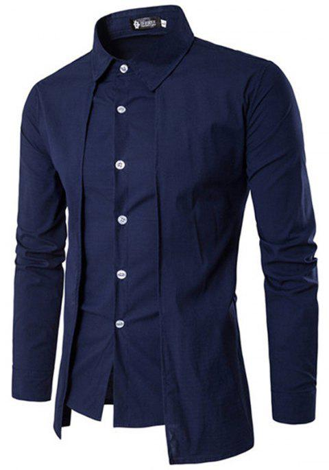 Fake Two Pieces Simple Style Casual Fashion Designer Shirts for Men - CADETBLUE L