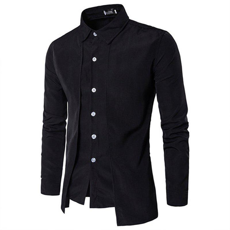 Fake Two Pieces Simple Style Casual Fashion Designer Shirts for Men - BLACK M