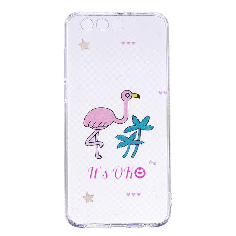 Ostrich Pattern Soft TPU Clear Case for Huawei Honor 9 - TRANSPARENT