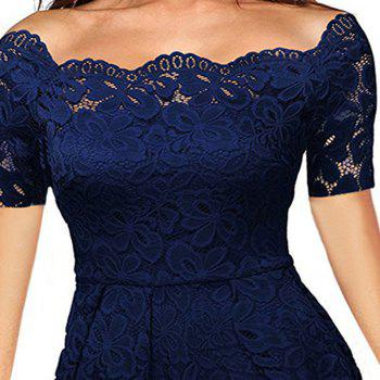 2017 Summer Embroidery Sexy Women Lace Off Shoulder  Short Sleeve Casual Evening Party A Line Formal Dress - DARK BLUE 2XL