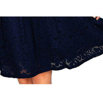 2017 Summer Embroidery Sexy Women Lace Off Shoulder  Short Sleeve Casual Evening Party A Line Formal Dress - DARK BLUE XL