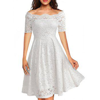 2017 Summer Embroidery Sexy Women Lace Off Shoulder  Short Sleeve Casual Evening Party A Line Formal Dress - WHITE M