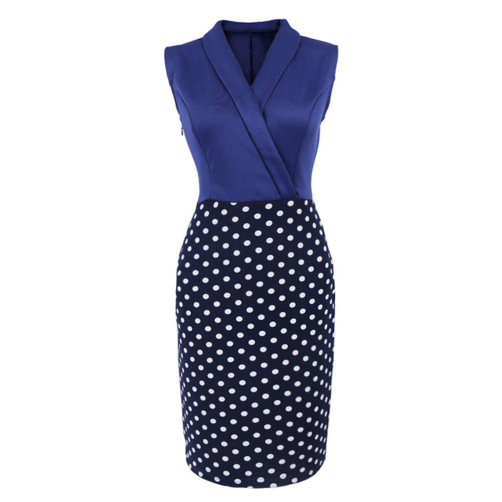 Elegant Women Summer  Sleeveless Cocktail Polka dots Patchwork Vintage Casual  Work Office Business Bodycon Pencil Dress