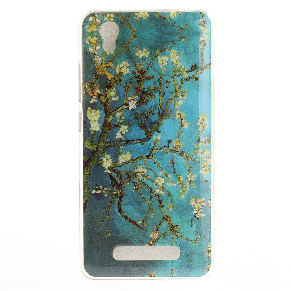 Apricot Blossom Soft Clear IMD TPU Phone Casing Mobile Smartphone Cover Shell Case for ZTE A452 Blade X3 D2 T620 Q519T - BLUE