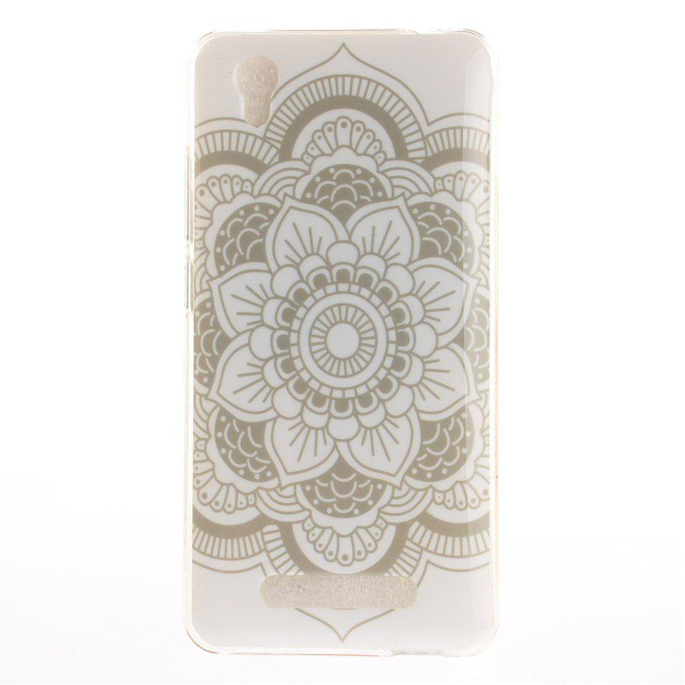 Big White Flower Soft Clear IMD TPU Phone Casing Mobile Smartphone Cover Shell Case for ZTE A452 Blade X3 D2 T620 Q519T - WHITE