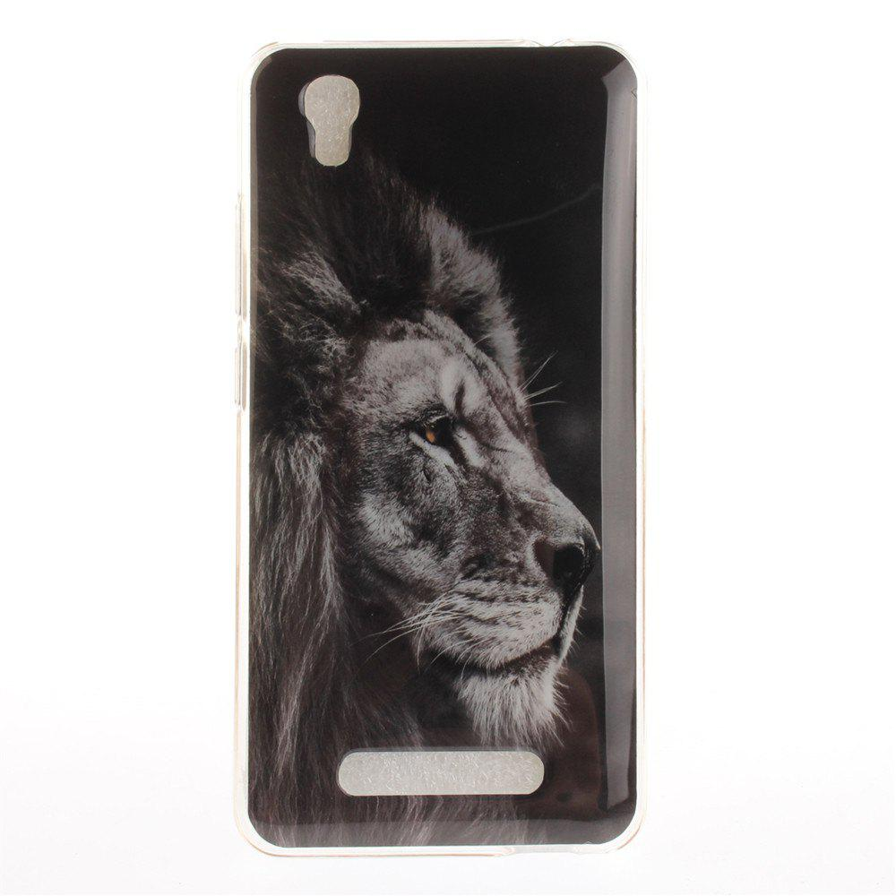 Black Lion Soft Clear IMD TPU Phone Casing Mobile Smartphone Cover Shell Case for ZTE A452 Blade X3 D2 T620 Q519T - BLACK
