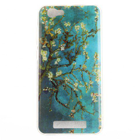 Apricot Blossom Pattern Soft Clear IMD TPU Phone Casing Mobile Smartphone Cover Shell Case for ZTE Blade A610 - BLUE