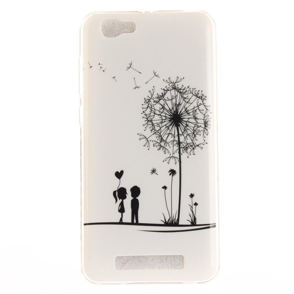 Dandelion Lovers Soft Clear IMD TPU Phone Casing Mobile Smartphone Cover Shell Case for ZTE Blade A610 - WHITE