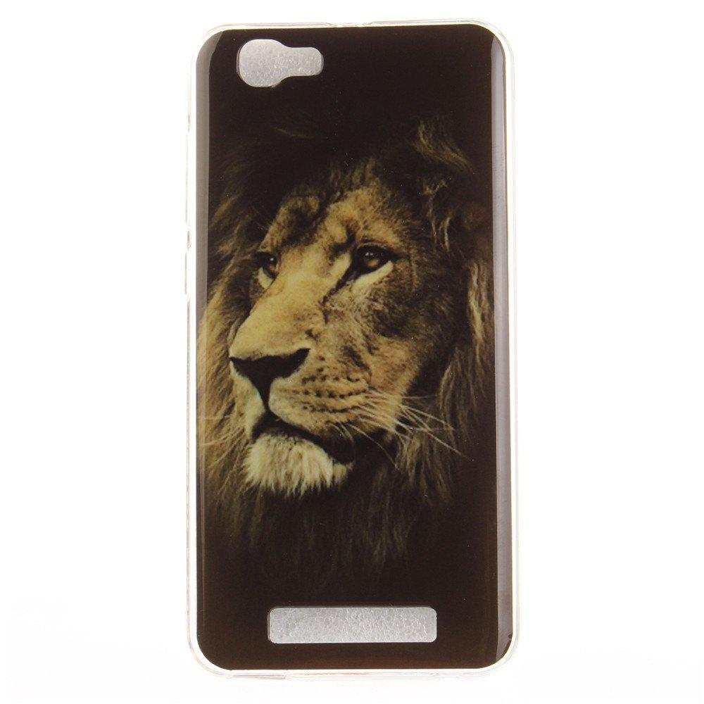 The Lion Pattern Soft Clear IMD TPU Phone Casing Mobile Smartphone Cover Shell Case for ZTE Blade A610 - BLACK