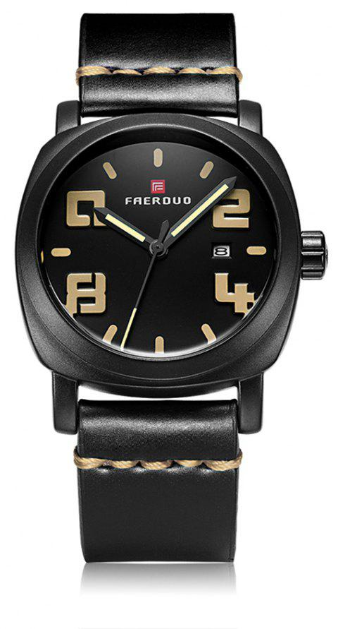 FAERDUO 8212 Mens Mode Simple Cuir Sport Quartz Montres - Abricot