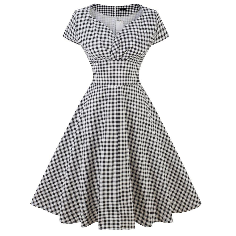 Summer Plus Size Dress Vintage Rockabilly Swing Feminino Vestidos V Neck Short Sleeves Dot Print Dress Women Retro Dress pinup rockabilly special retro atmosphere beautiful generous banquet hoop rabbit ear