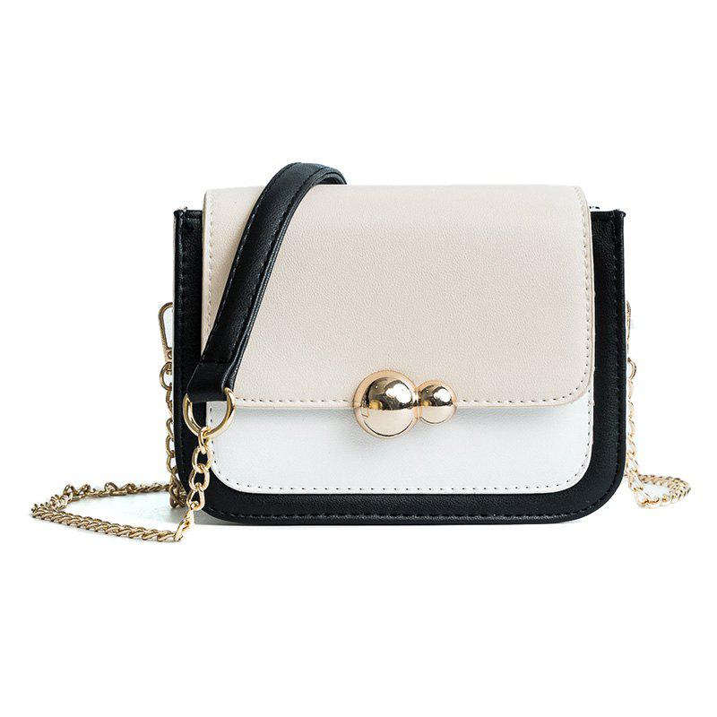 Simple Fashion Splice Chain Cross-Body Bag - BEIGE