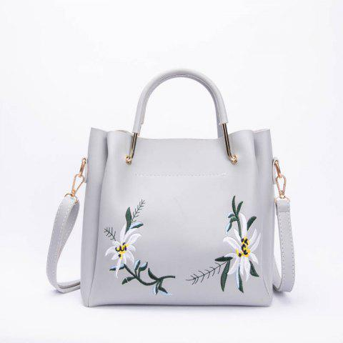 High-Capacity Flower embroidery Stylish Shoulder Bag - OYSTER