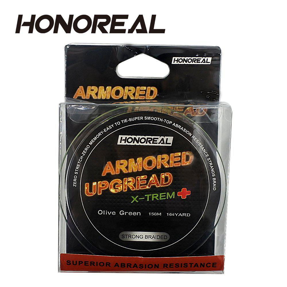 HONOREAL 0.165mm 150m Super Strong Abrasion Resistant  Grey and Green Color 4 Strands PE Braided Fishing Line - DEEP GRAY
