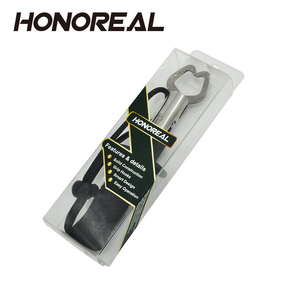 HONOREAL Strong Stainless Steel One-handed Operation Fish Lip Grip with EVA Handle and Wrist Lanyard - BLACK