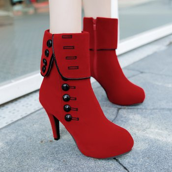 Martin Boots With Round Head And High Heels - RED 37