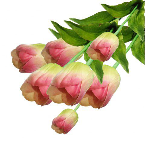 Anti-real flowers tulip fake flowers (large) - GREEN/PINK