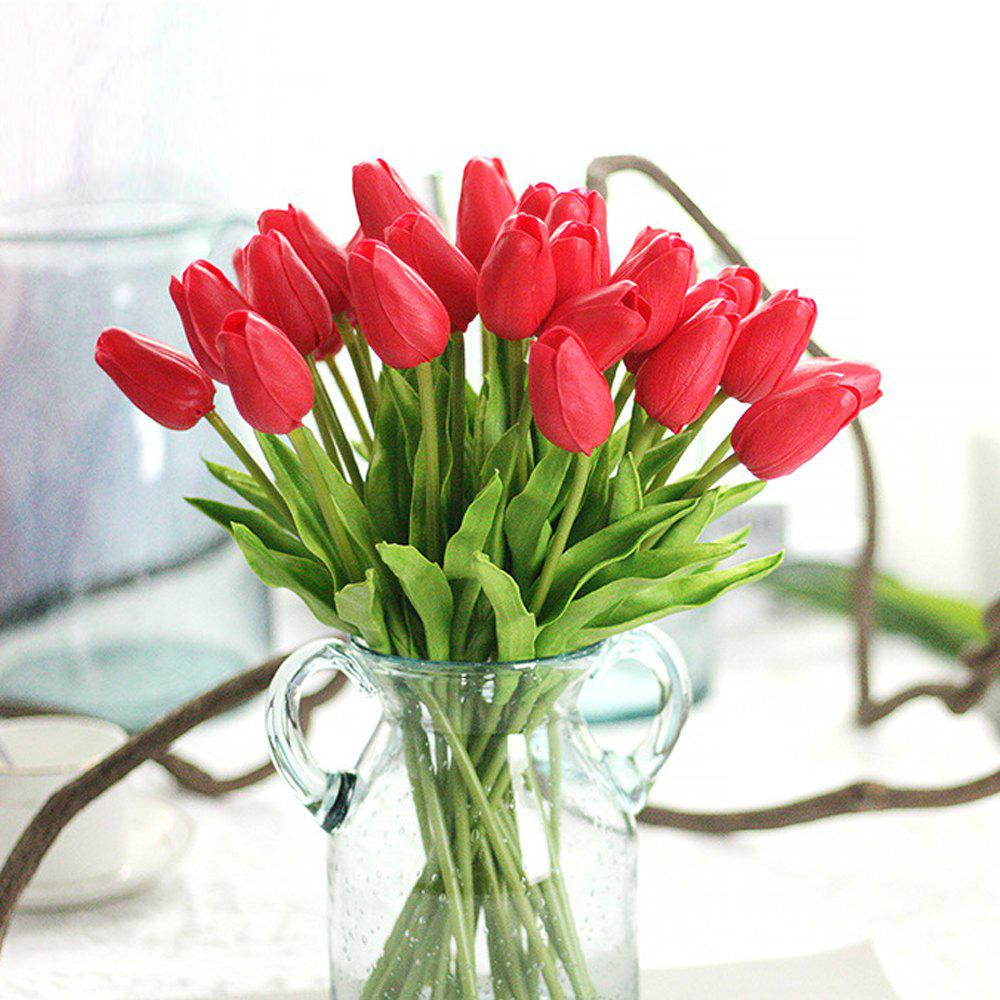 Anti-True Flower Tulip Fake Flowers (Trumpet)4 - RED