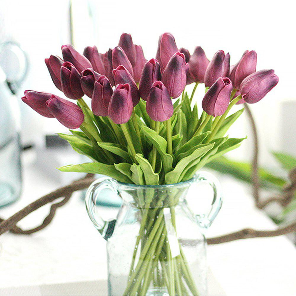 Anti-True Flower Tulip Fake Flowers (Trumpet)4 - CLARET
