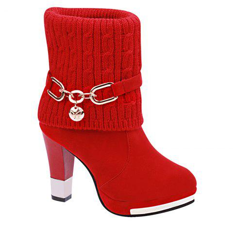 The New Metal Chain with All-match Thick Heeled Cashmere Fashion Bottine - RED 37