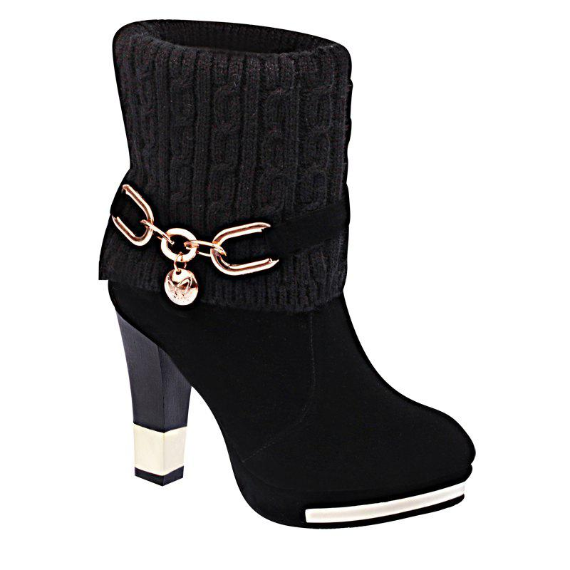 The New Metal Chain with All-match Thick Heeled Cashmere Fashion Bottine - BLACK 36