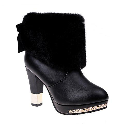 Autumn and Winter Fashion High-heeled Sleeve All-match Plush Boots - BLACK 40